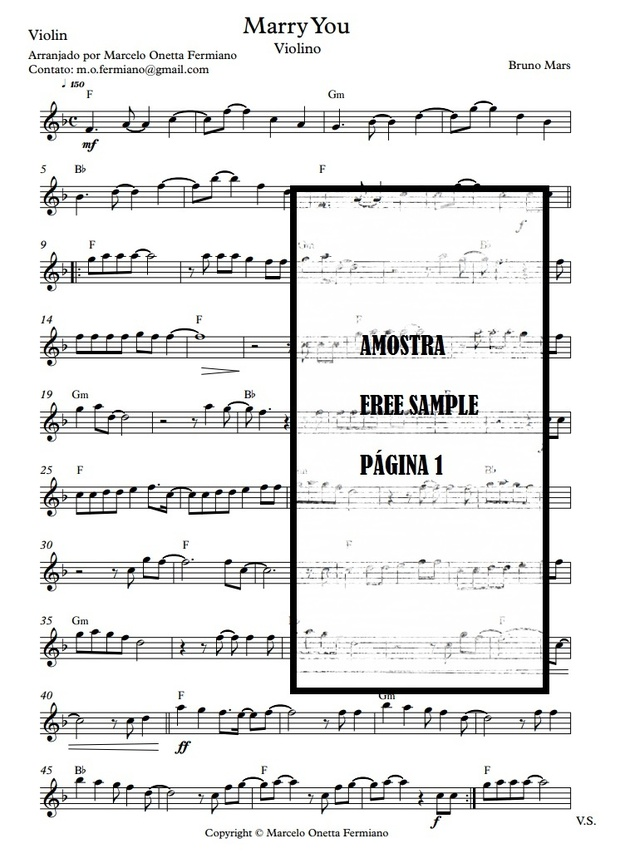 Marry You - Bruno Mars (Sheet Music Solo Violin)