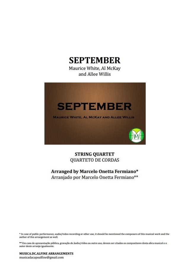 September - Earth, Wind & Fire -  String Quartet - Score and parts