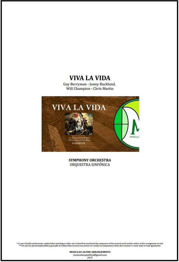 Viva La Vida | Coldplay | Orquestra Sinfônica | Partitura Completa | Grade e Partes | Download