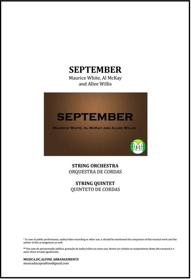 September | Earth, Wind & Fire | String Orchestra or String Quintet | Score  and Parts | Download
