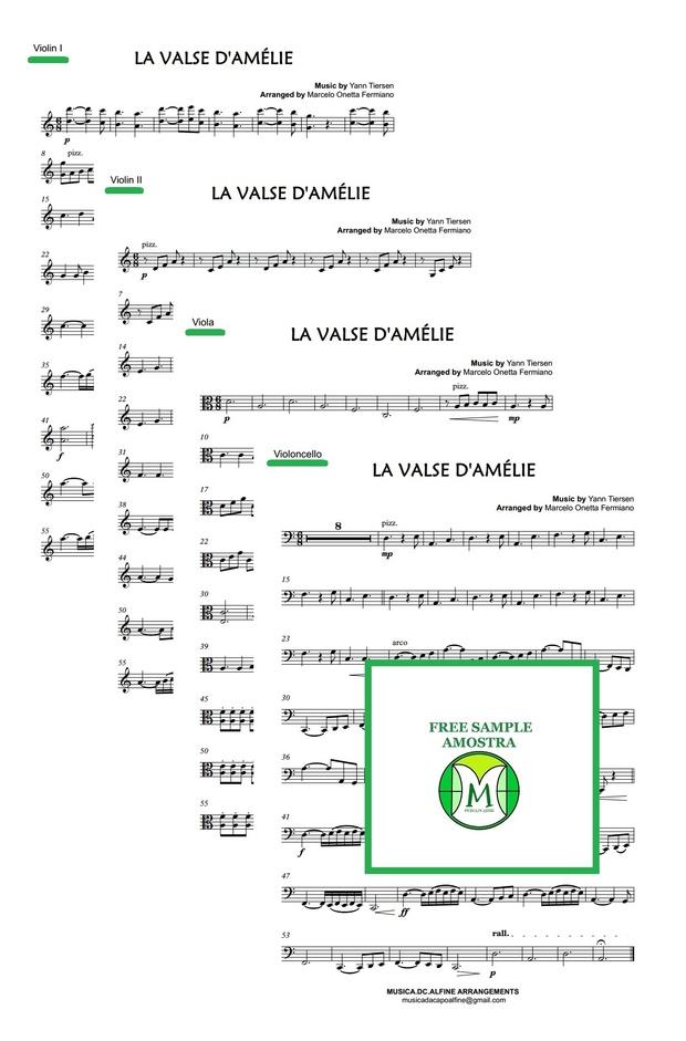 Valse d'Amélie - Tiersen - String Quartet - Score and parts.pdf