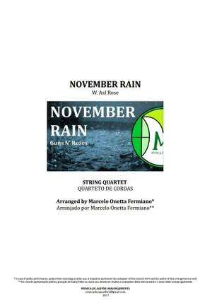 November Rain - Guns N'Roses - Quarteto de Cordas - Partitura completa em dois tons: B (si) e C (dó)