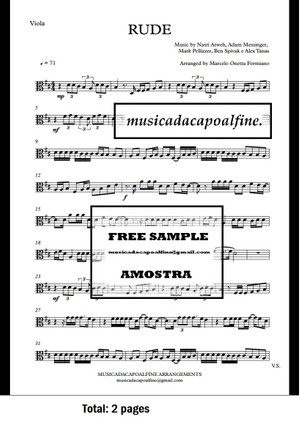 D Major - RUDE - MAGIC! - Viola - Sheet Music pdf