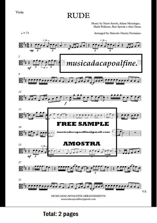 D Major - RUDE - MAGIC! - Viola - Sheet Music pdf