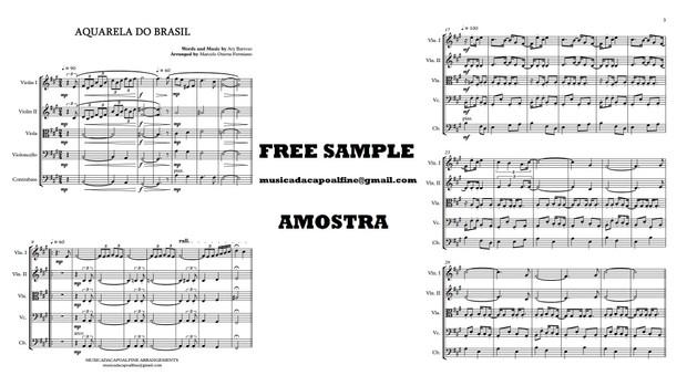 AQUARELA DO BRASIL - Ary Barroso - String Quintet or Chamber Orchestra Sheet Music