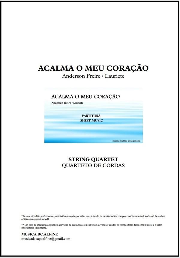 Acalma o Meu Coração   Anderson Freire   Quarteto de Cordas   Partitura   Grade e Partes