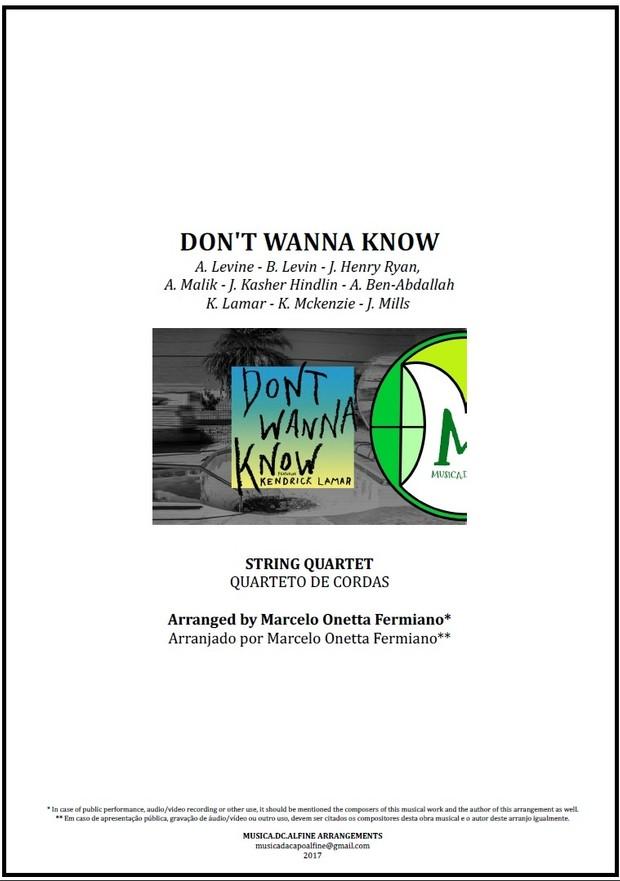 Don't Wanna Know   Maroon 5   String Quartet   Score Download