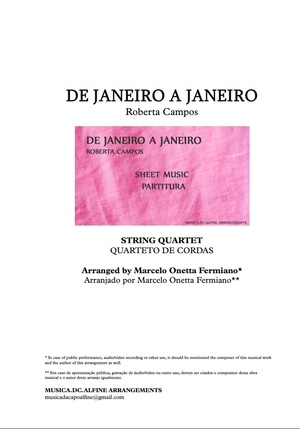 De Janeiro a Janeiro - Roberta Campos - Quarteto de Cordas - Partitura Completa