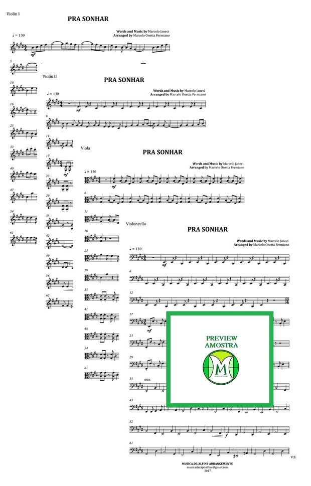 Pra Sonhar | Marcelo Jeneci | Quarteto de Cordas | Partitura Completa | Grade e Partes