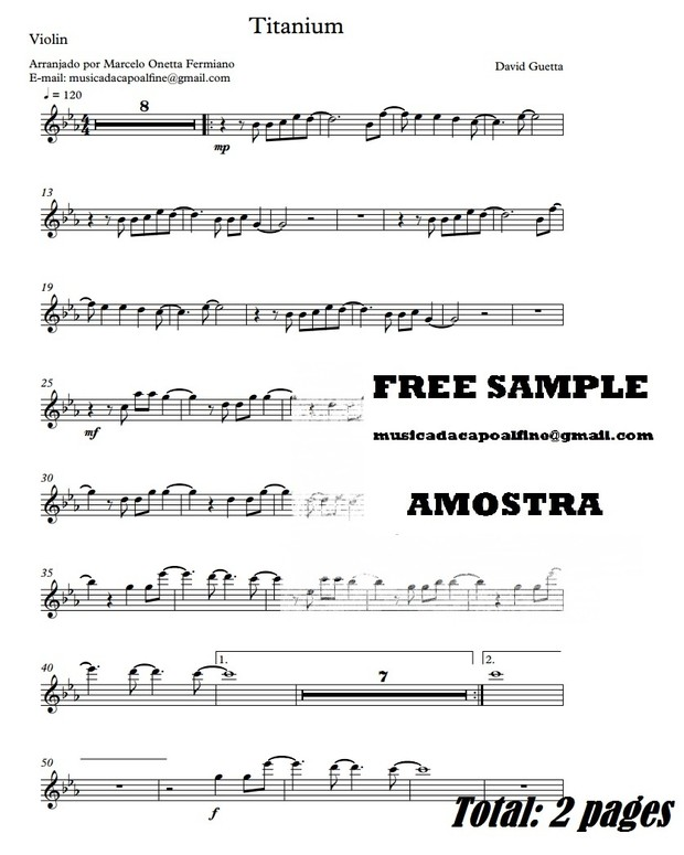 Titanium - D. Guetta - Violin - Sheet Music Partitura Download