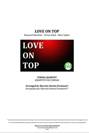 Love On Top - Beyoncé - Quarteto de Cordas - Partitura - Grade e Partes