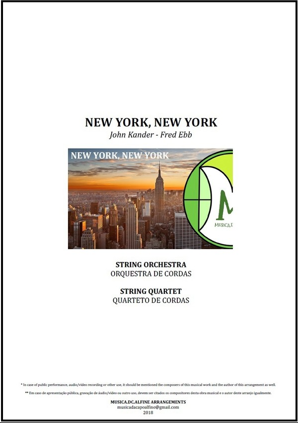 New York, New York | Frank Sinatra | String Orchestra or String Quartet | Score and parts