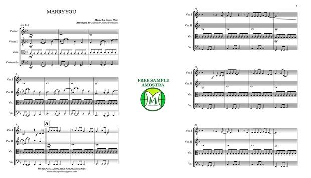 Marry you - Bruno Mars / Sheet Music for String Quartet / Download