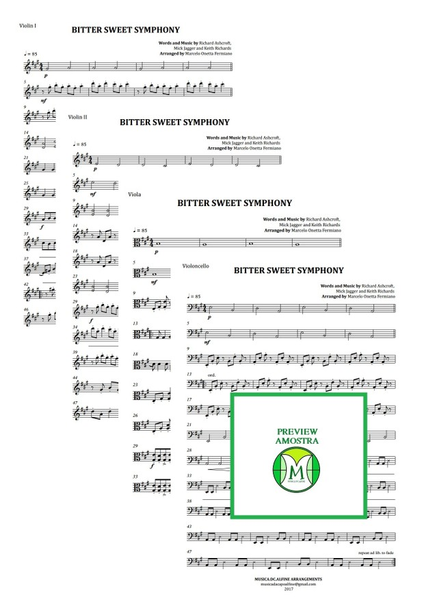 Bitter Sweet Symphony - The Verve - String Quartet - Score and Parts