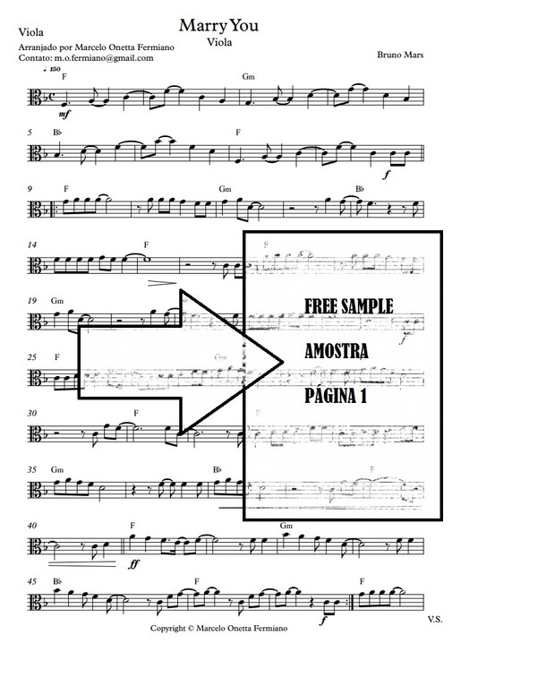 Marry You - Viola Solo - Sheet Music PDF
