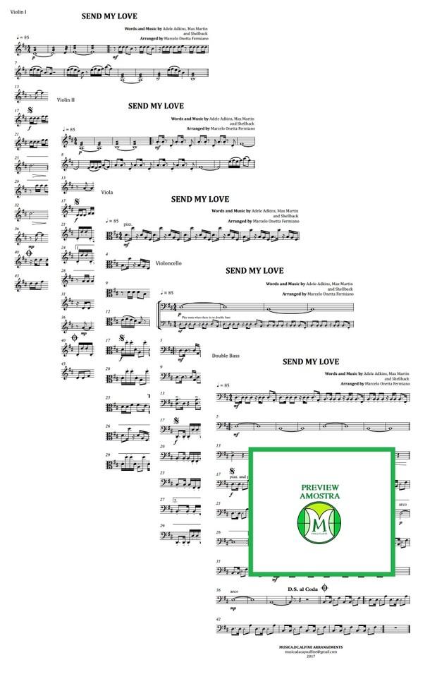 Send My Love | Adele | Quarteto de Cordas ou Quinteto de Cordas | Partitura | Grade e Partes