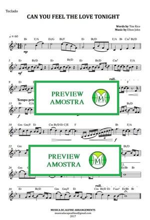 Can You Feel The Love Tonight - Elton John - Keyboard or Violin - Sheet Music