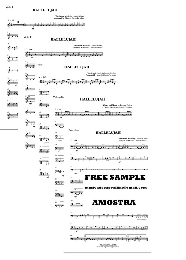 Hallelujah -L.Cohen -  String Orchestra or String Quintet - Score and parts.pdf