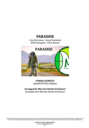Paradise | Coldplay | Quarteto de Cordas | Partitura Completa | Download