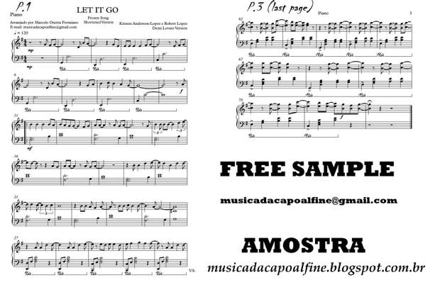 Let It Go (Frozen)- Piano - Score Sheet Music Download (shortened version)