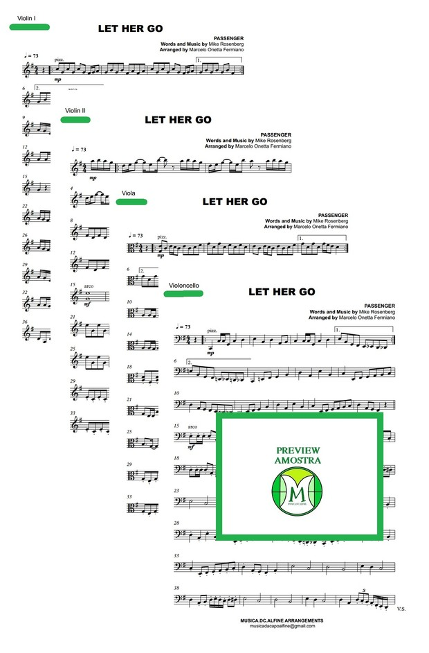 Let Her Go - Passenger - String Quartet - Score and parts