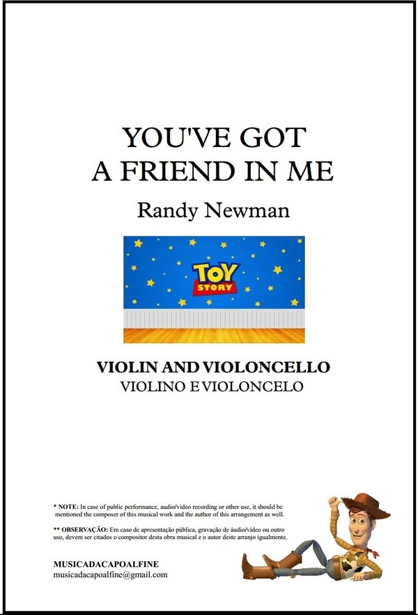 You've Got a Friend in Me | Randy Newman | Violin And Cello | Download | Score and Parts