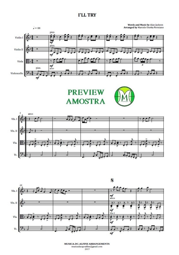 I'll Try | Alan Jackson | String Quartet | Score and Parts | Download
