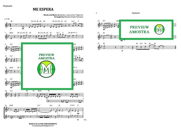 Me Espera - Sandy e Tiago Iorc - Teclado ou Violino- Partitura com Cifra