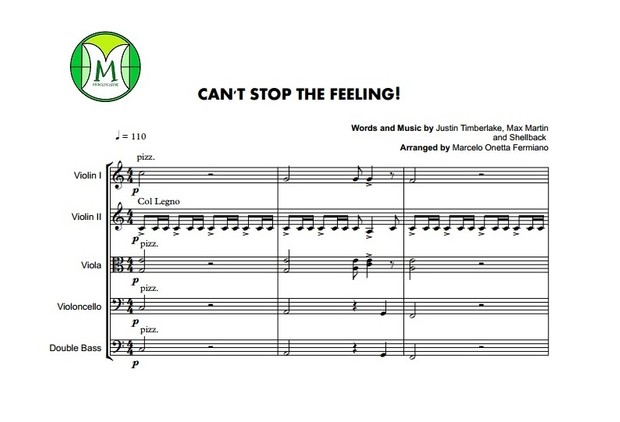 Can't Stop The Feeling - Justin Timberlake - String Orchestra/String Quintet - Score and parts.