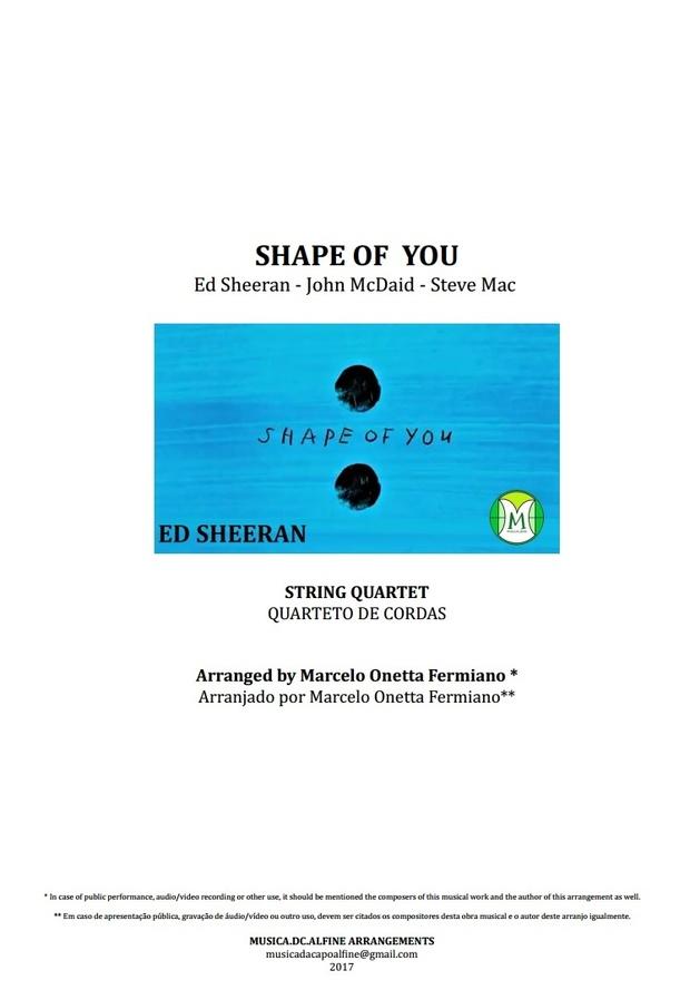 Shape Of You - Ed Sheeran - String Quartet - Score and Parts