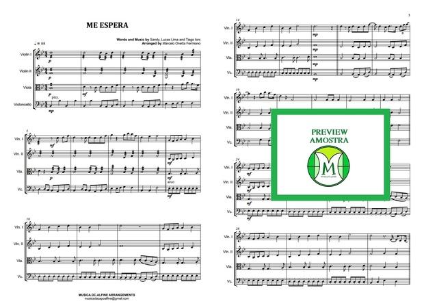 Me Espera - Sandy e Tiago Iorc - Quarteto de Cordas - Partitura