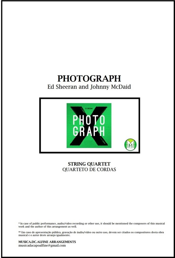 Photograph   Ed. Sheeran   String Quartet   Score and Parts   Download