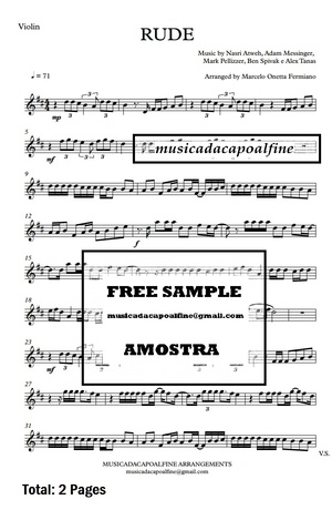 D Major - RUDE - MAGIC! - Violin - Sheet Music pdf