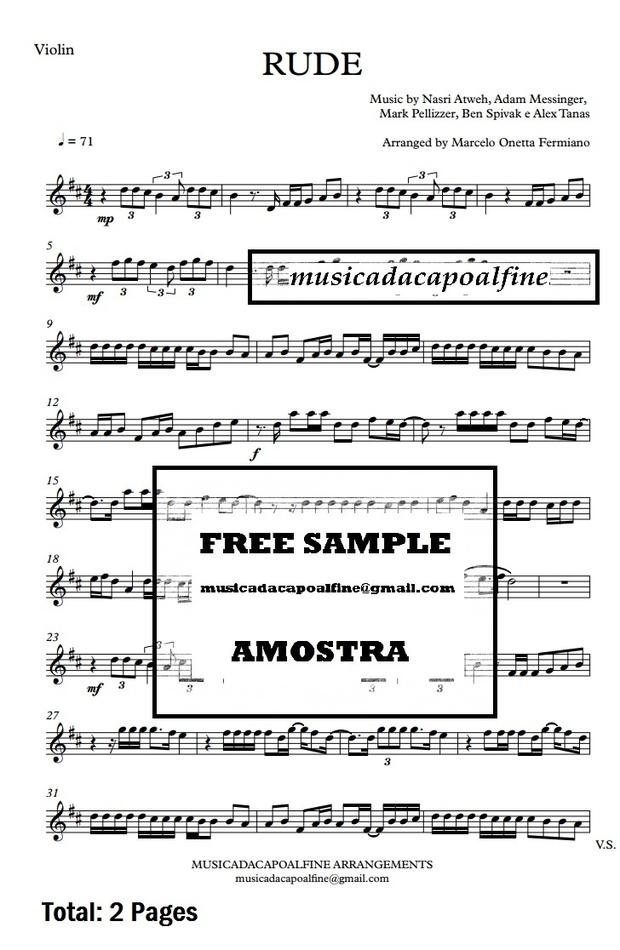 D Major - RUDE - MAGIC! - Violin - Sheet Music pdf