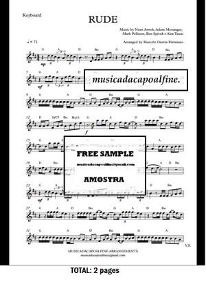 D Major - RUDE - MAGIC! - Keyboard - Sheet Music pdf Download