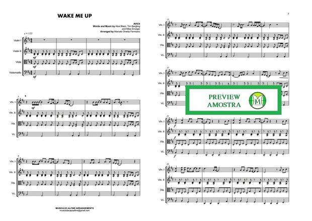 Wake Me Up - Avicii - String Quartet - Score and parts Download