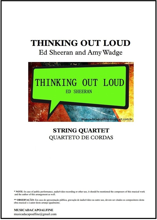 Thinking Out Loud   Ed Sheeran   String Quartet   Score and Parts   Download