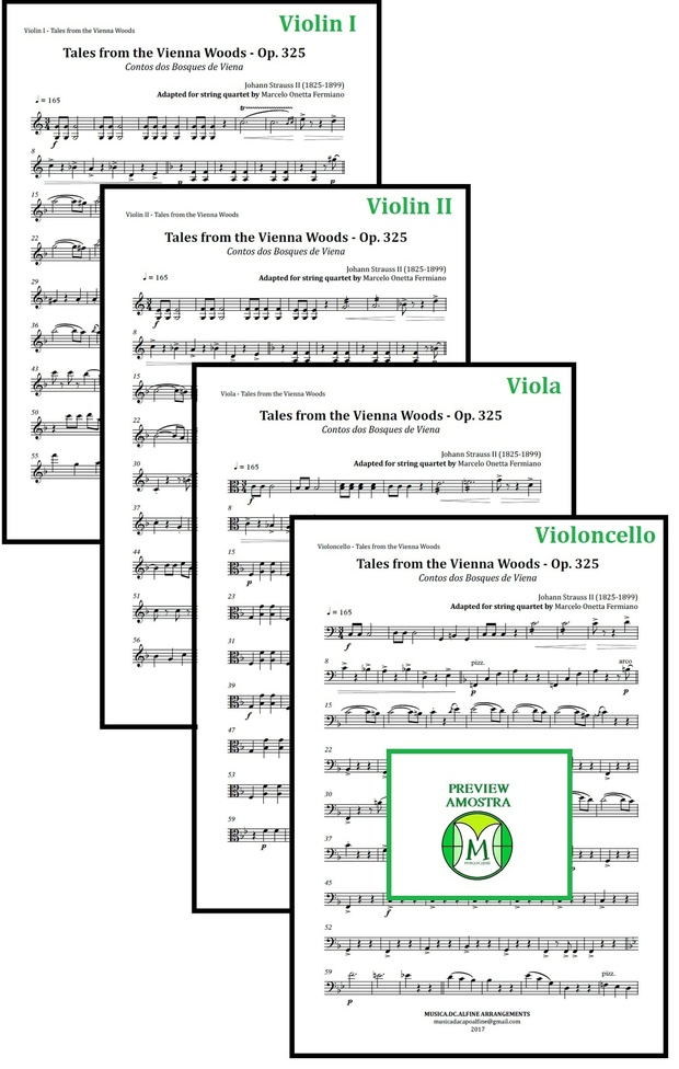 Tales from the Vienna Woods | Strauss | String Quartet | Score and Parts | Download