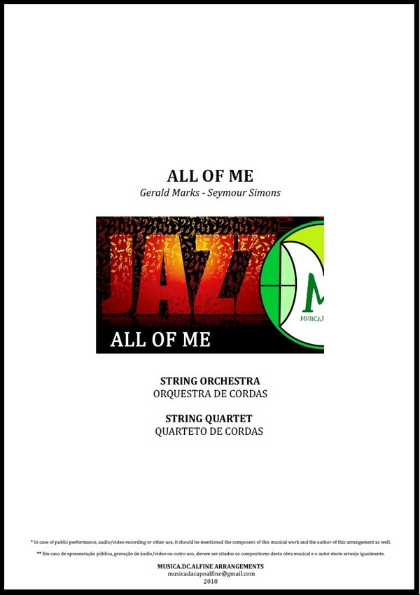 All Of Me | Jazz Standard | String Orchestra or String Quartet | Score and Parts