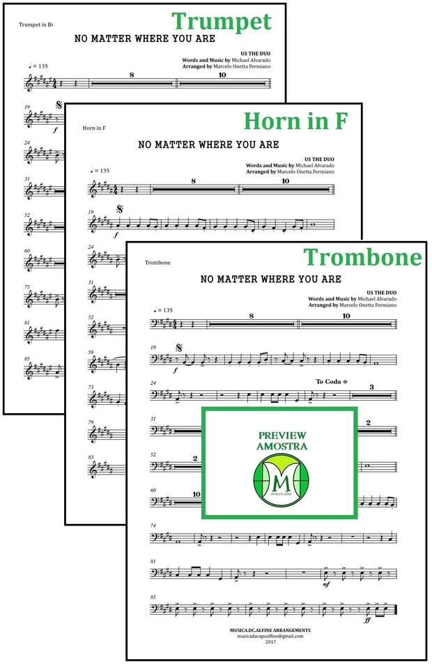 No Matter Where You Are | Us The Duo | Quarteto de Cordas e Trio de Metais | Partitura Completa