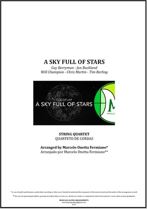 A Sky Full Of Stars | Coldplay | String Quartet | Score and Parts Download