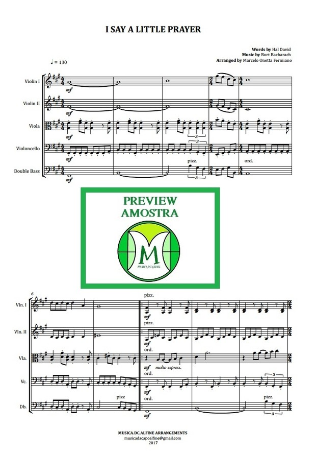 I Say a Little Prayer - Aretha Franklin - String Orchestra or String Quintet - Score and parts