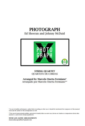 Photograph - Ed. Sheeran - String Quartet - Score and parts.