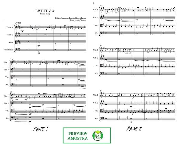 Let It Go | Demi Lovato | Quarteto de Cordas | Grade e Partes | Download