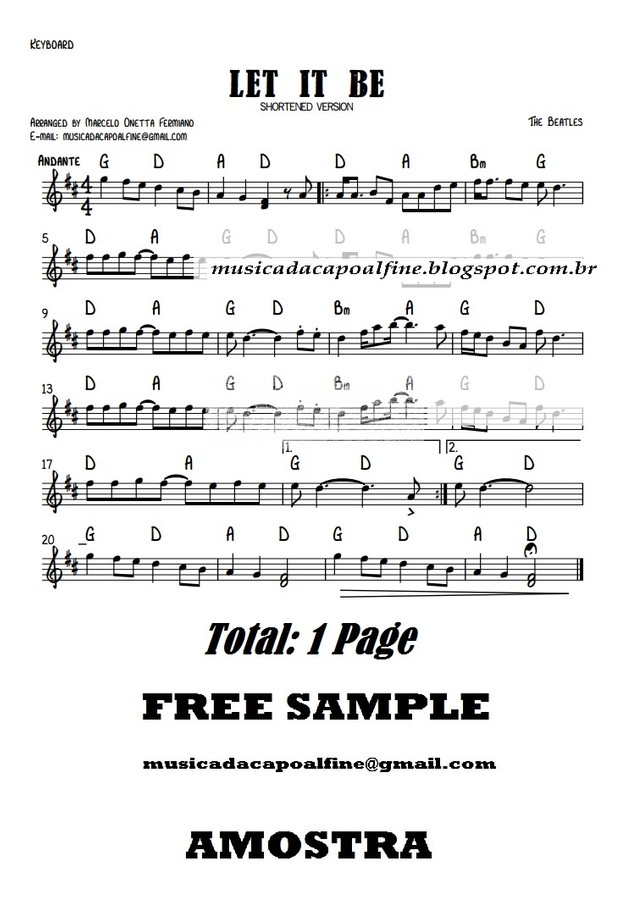 LET IT BE - Keyboard with Chords - Parts. sheet music pdf