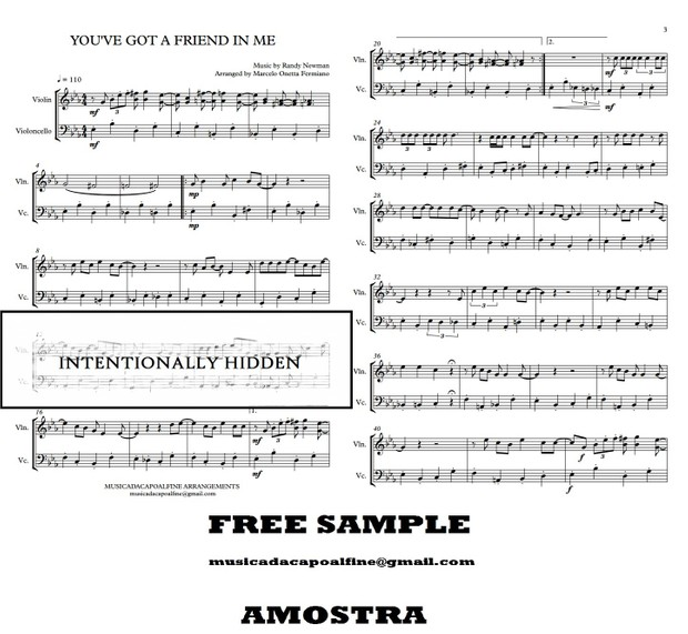 You've Got a Friend in Me - Randy Newman - Violin And Cello  - Sheet Music PDF Toy Story