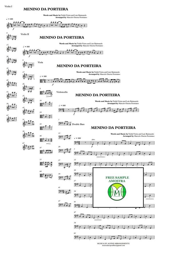 Menino da Porteira - Orquestra de Câmara - Partitura Com Grade e Partes