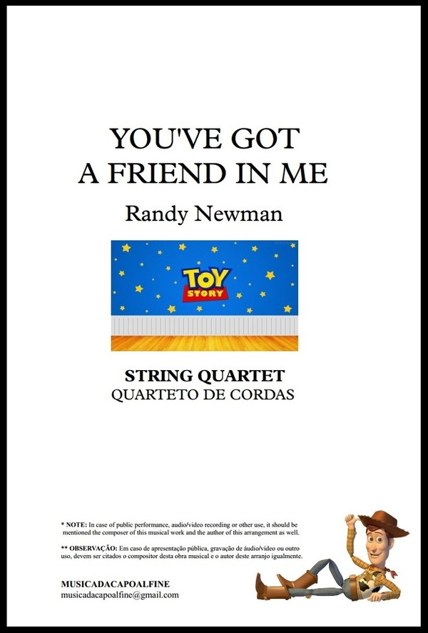 You've Got a Friend in Me | Randy Newman | Quarteto de Cordas | Grade e Partes | Download