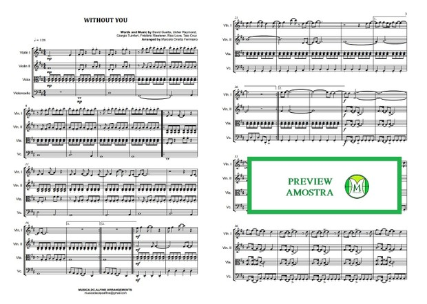 Without You - David Guetta - String Quartet - Score and parts.pdf  Enable PDF stamping (more info)