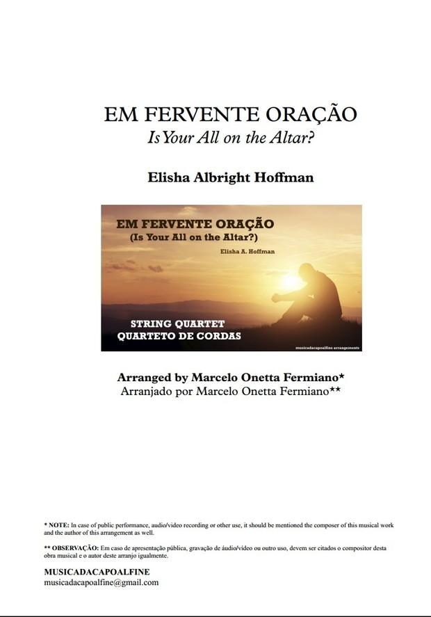 Em Fervente Oração (Is Your All on The Altar) - String Quartet - Elisha Hoffman
